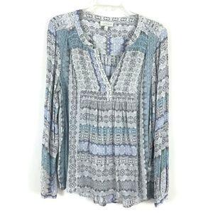 Lucky Brand boho long sleeve tunic peasant blouse